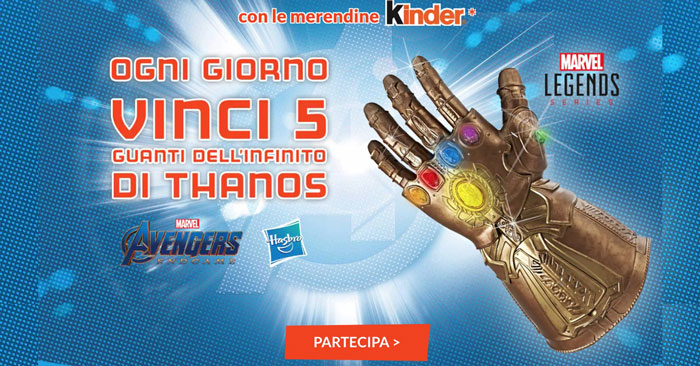 Concorso Ferrero: vinci Guanti di Thanos