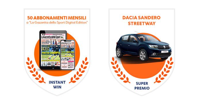 Concorso Gazzetta: vinci auto Dacia e abbonamenti