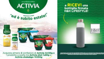 Bottiglia H&H Lifestyle in regalo con Activia