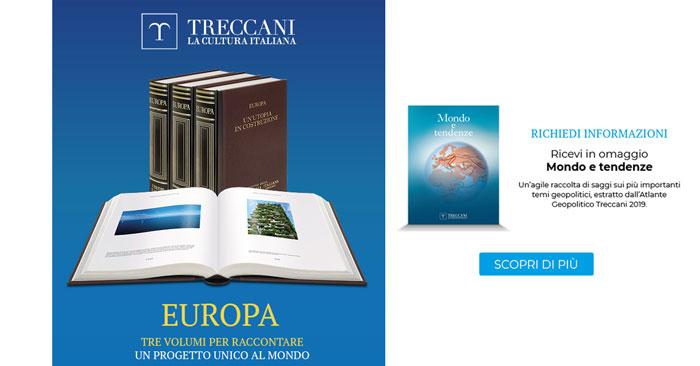 """Treccani volume Europa: in omaggio libro """"Mondo e Tendenze"""""""
