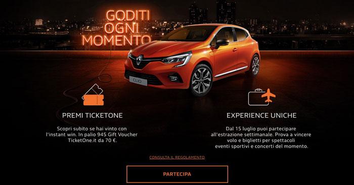 Concorso nuova Clio Renault: vinci Ticketone