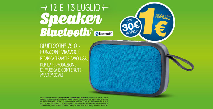 Eurospin: Speaker Bluetooth a solo 1€!