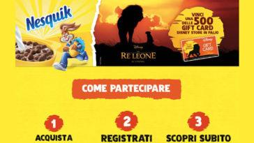 Nesquik: vinci Gift Card Disney Store