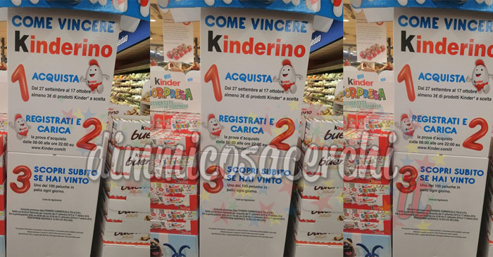 Vinci 100 peluche Kinderino Kinder al giorno