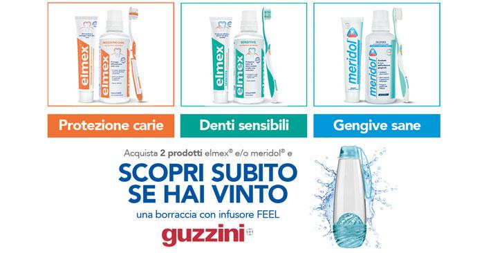 Vinci borracce Guzzini con Elmex Meridol