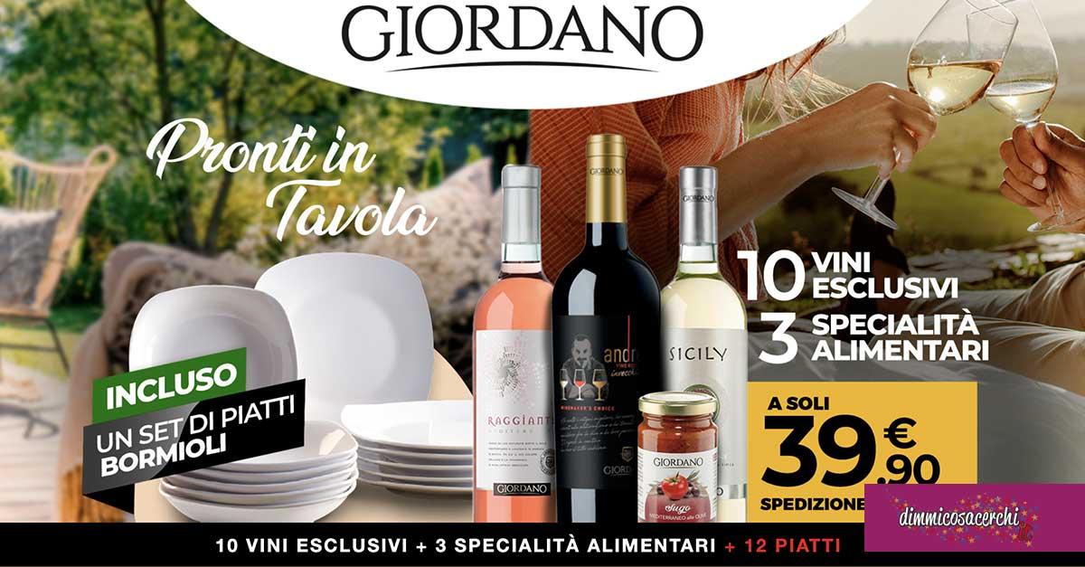 Giordano Vini: offerta piatti Bormioli