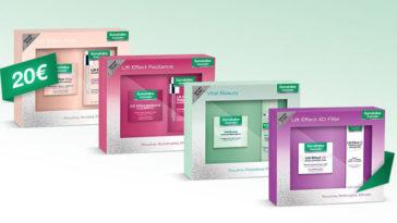 I cofanetti viso delle linee Plus, Radiance, 4D e Vital Beauty a partire da un prezzo speciale di 20€ fino ad esaurimento scorte.