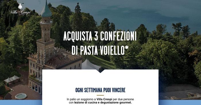 Voiello: vinci soggiorno a Villa Crespi