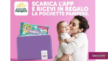 Pochette e salviette Pampers in regalo