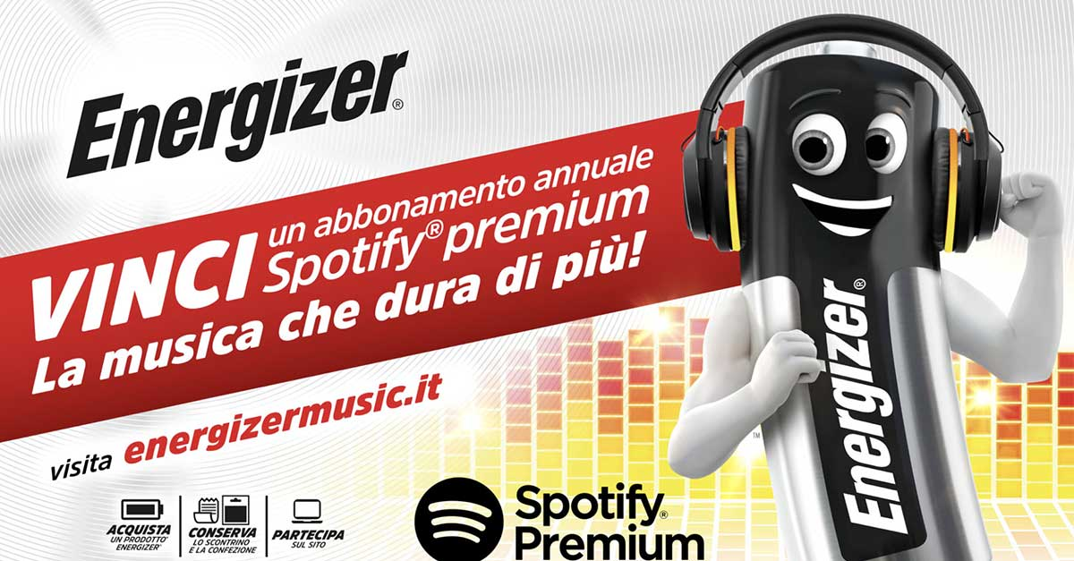 Concorso Energizer: vinci Spotify Premium